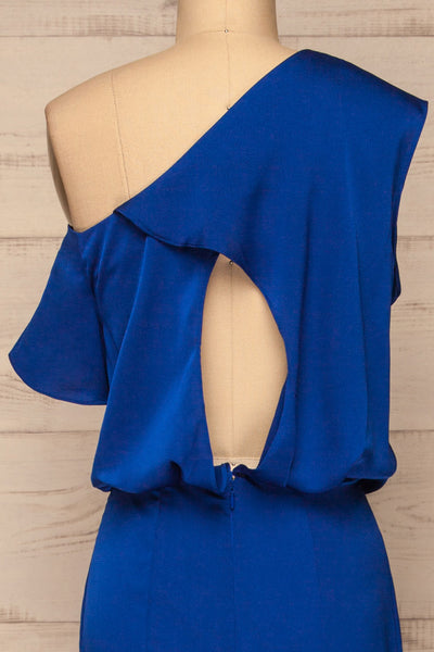 Ardee Marine Blue Satin Gown | Robe | La Petite Garçonne back close-up