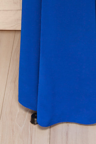 Ardee Marine Blue Satin Gown | Robe | La Petite Garçonne bottom close-up