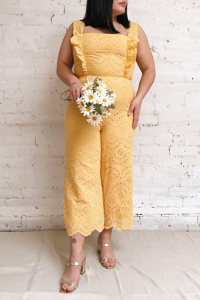 Ardfesh Yellow Embroidered Openwork Jumpsuit | Boutique 1861 model look