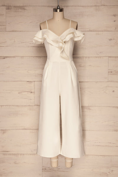 Ardhea White Off Shoulder V-Neck Jumpsuit | La Petite Garçonne