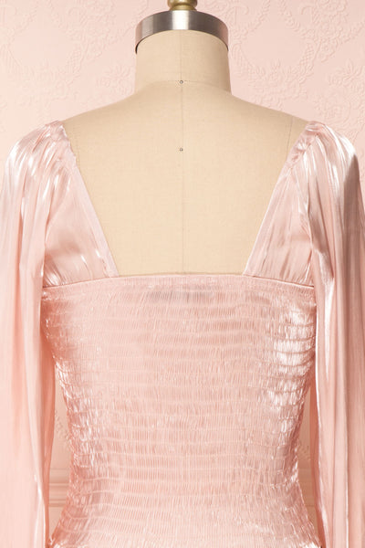 Ardvinna Pink Silky Off-Shoulder Ruched Crop Top | Boutique 1861 back close-up