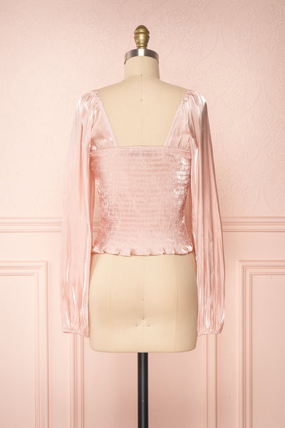 Ardvinna Pink Silky Off-Shoulder Ruched Crop Top | Boutique 1861 back view