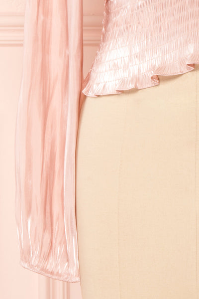 Ardvinna Pink Silky Off-Shoulder Ruched Crop Top | Boutique 1861 bottom close-up