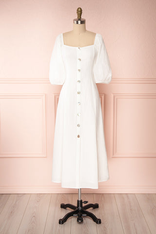 Arethusa White Linen Midi Dress front view | Boutique 1861
