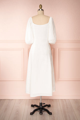 Arethusa White Linen Midi Dress back view | Boutique 1861
