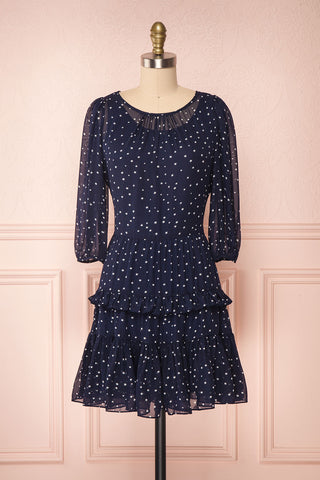 Aricia Navy Blue & White Star Patterned Party Dress front view | Boutique 1861