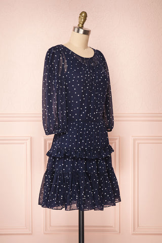 Aricia Navy Blue & White Star Patterned Party Dress side view | Boutique 1861