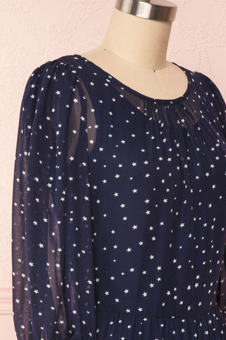 Aricia Navy Blue & White Star Patterned Party Dress side close up | Boutique 1861