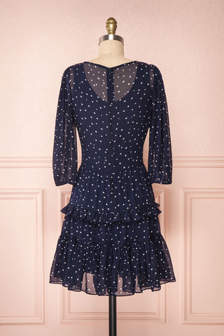 Aricia Navy Blue & White Star Patterned Party Dress back view | Boutique 1861