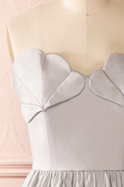 Ariel Lune - Light grey sea shell bustier dress front close-up