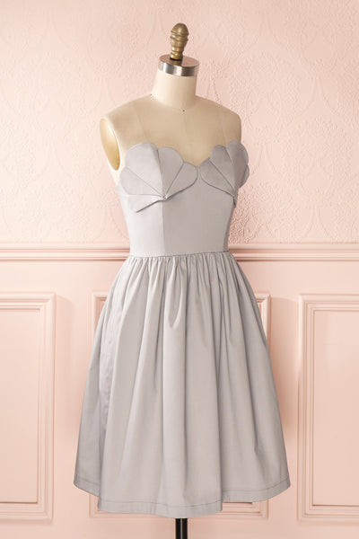 Ariel Lune - Light grey sea shell bustier dress side view