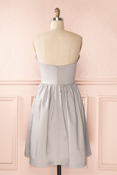 Ariel Lune - Light grey sea shell bustier dress back view