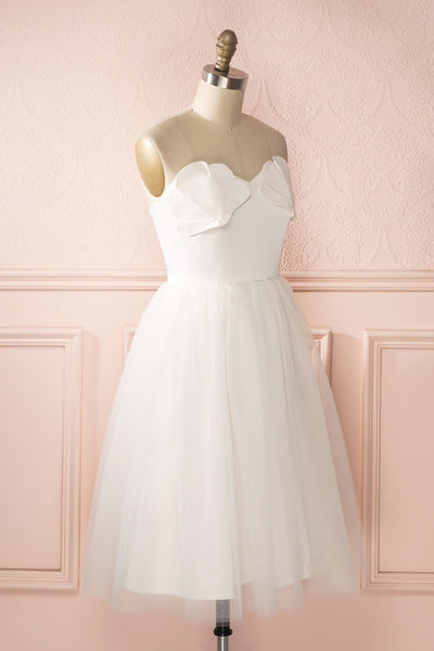 Ariella - White sea shell bustier dress side view