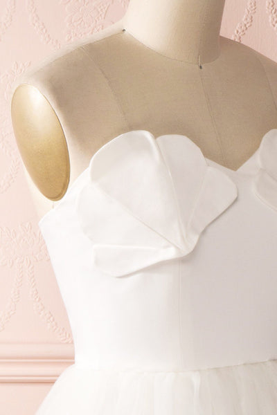 Ariella - White sea shell bustier dress side close-up