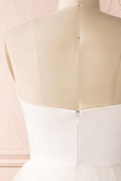 Ariella - White sea shell bustier dress back close-up
