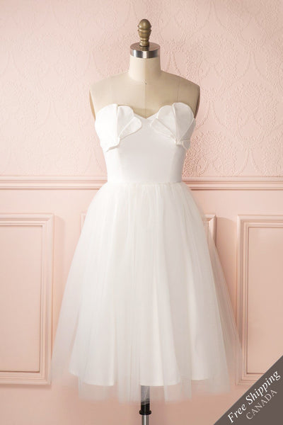 Ariella - White sea shell bustier dress front view