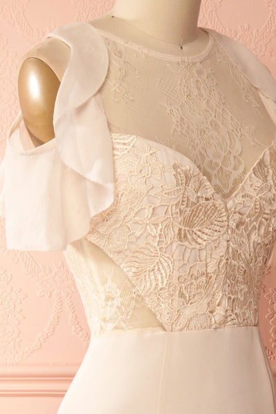 Arika Light Blush Ruffles & Lace Mermaid Gown | Boudoir 1861