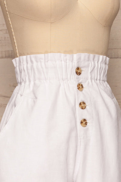 Arinsal White High Waist Cropped Pants | La petite garçonne side close-up