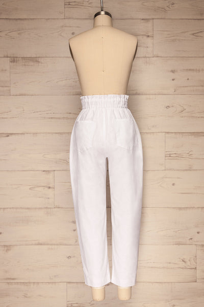 Arinsal White High Waist Cropped Pants | La petite garçonne back view