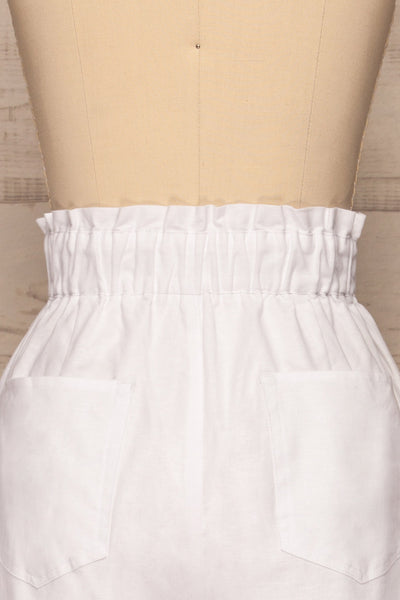 Arinsal White High Waist Cropped Pants | La petite garçonne back close-up