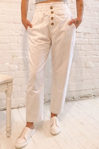 Arinsal White High Waist Cropped Pants | La petite garçonne on model