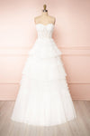 Aristee White Bustier Layered Tulle Maxi Dress | Boudoir 1861 front view