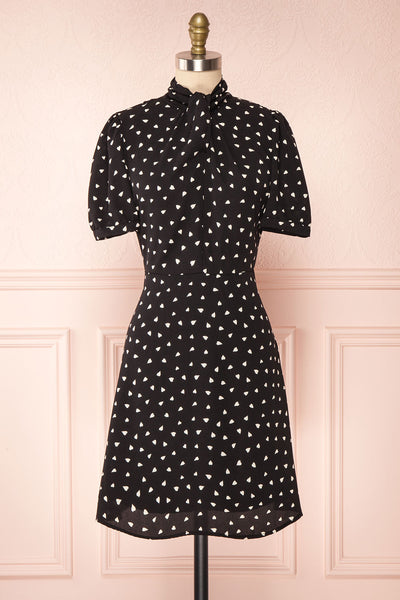 Arlette Black Patterned Short Sleeve Dress | Boutique 1861 front view