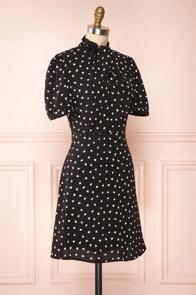 Arlette Black Patterned Short Sleeve Dress | Boutique 1861 side view