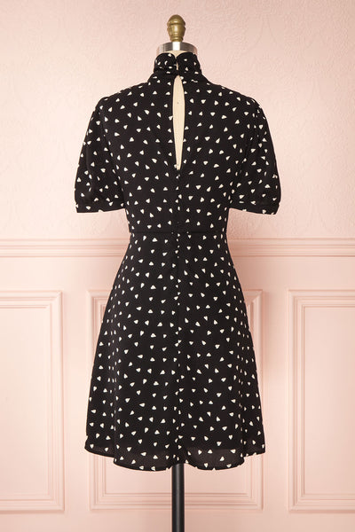 Arlette Black Patterned Short Sleeve Dress | Boutique 1861 back view