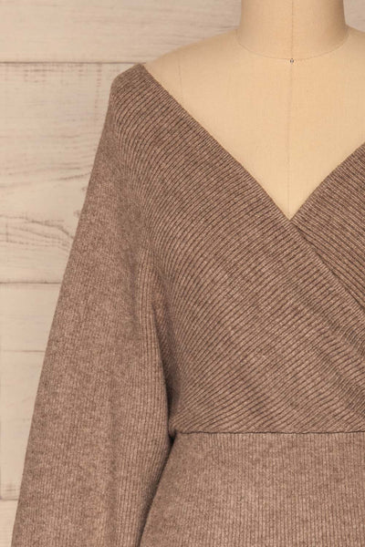 Armis Chestnut  Ribbed Faux Wrap Sweater | La petite garçonne front close-up
