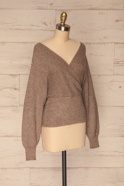 Armis Chestnut  Ribbed Faux Wrap Sweater | La petite garçonne side view