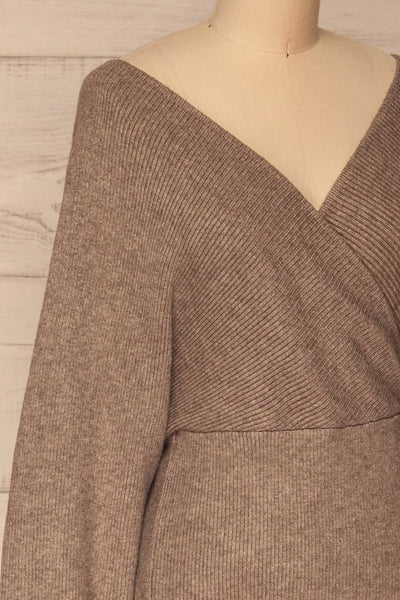 Armis Chestnut  Ribbed Faux Wrap Sweater | La petite garçonne side close-up