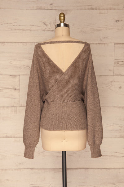 Armis Chestnut  Ribbed Faux Wrap Sweater | La petite garçonne back view
