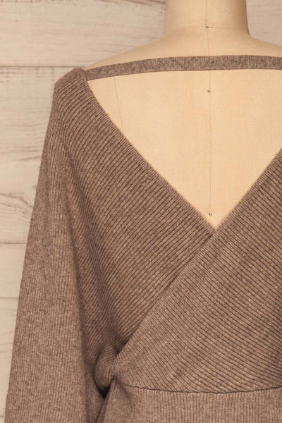 Armis Chestnut  Ribbed Faux Wrap Sweater | La petite garçonne back close-up