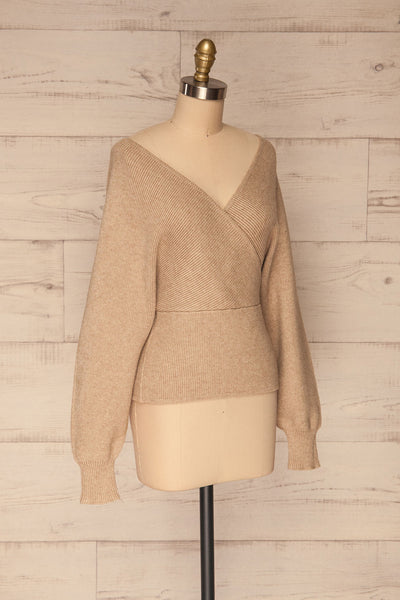 Armis Taupe Ribbed Faux Wrap Sweater | La petite garçonne side view