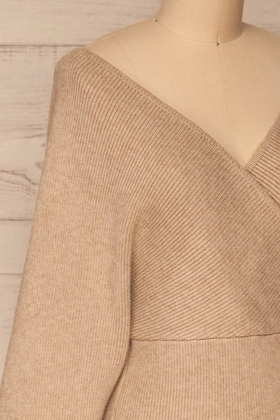 Armis Taupe Ribbed Faux Wrap Sweater | La petite garçonne side close-up