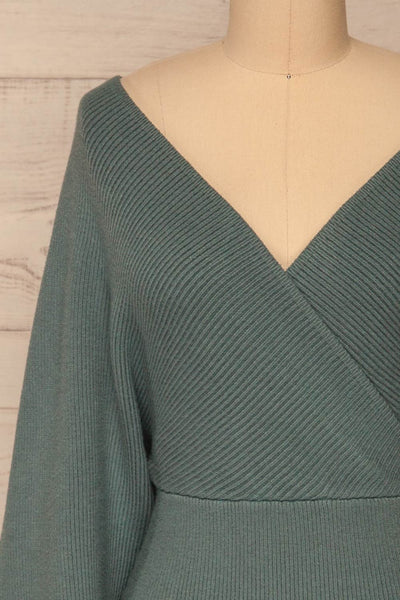 Armis Teal Ribbed Faux Wrap Sweater | La petite garçonne front close-up