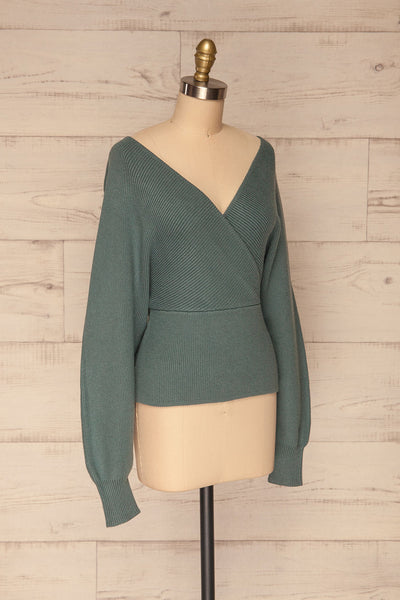 Armis Teal Ribbed Faux Wrap Sweater | La petite garçonne side view