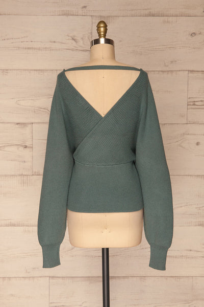 Armis Teal Ribbed Faux Wrap Sweater | La petite garçonne back view