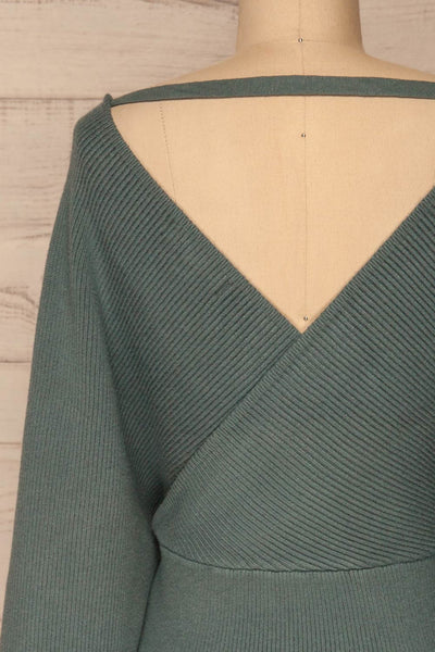 Armis Teal Ribbed Faux Wrap Sweater | La petite garçonne back close-up