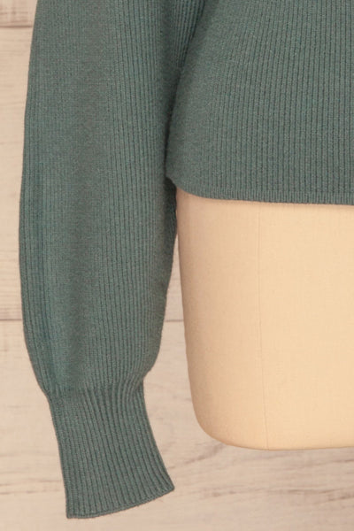 Armis Teal Ribbed Faux Wrap Sweater | La petite garçonne bottom