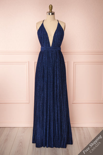 Arnemande Navy Pleated Gown w/ Glitters front view FS | Boutique 1861