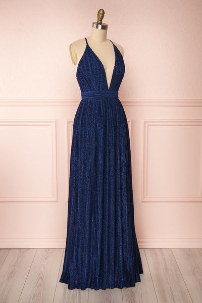 Arnemande Navy Pleated Gown w/ Glitters side view | Boutique 1861