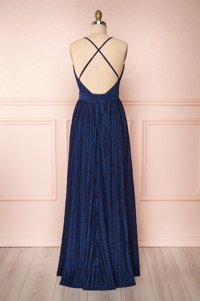 Arnemande Navy Pleated Gown w/ Glitters back view | Boutique 1861