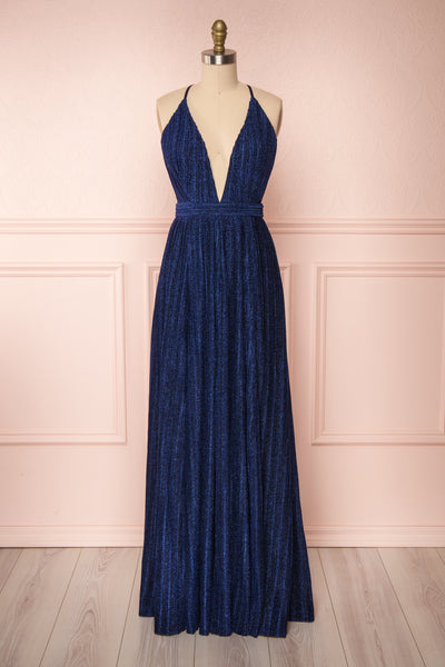 Arnemande Navy Pleated Gown w/ Glitters | Boutique 1861
