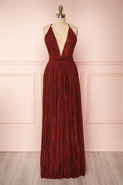 Arnemande Red Pleated Gown w/ Glitters | Boutique 1861