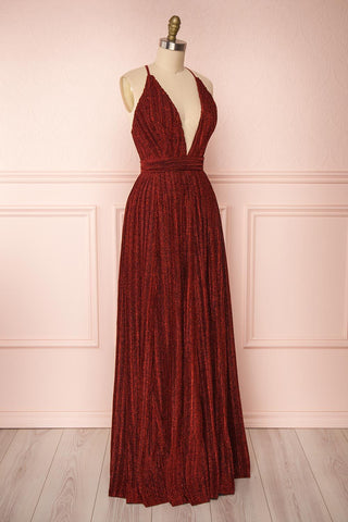 Arnemande Red Pleated Gown w/ Glitters side view | Boutique 1861