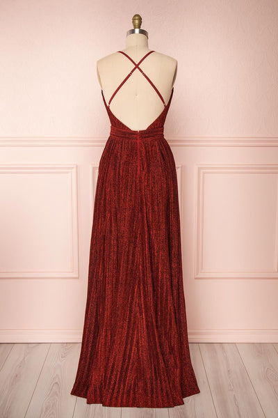 Arnemande Red Pleated Gown w/ Glitters back view | Boutique 1861