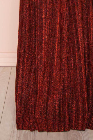 Arnemande Red Pleated Gown w/ Glitters skirt | Boutique 1861