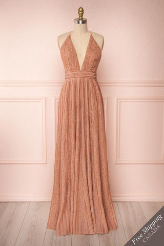 Arnemande Rosegold Pleated Gown w/ Glitters front view FS | Boutique 1861